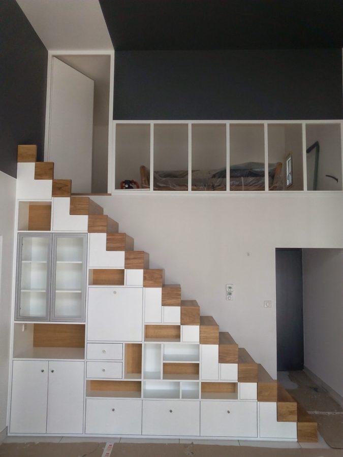 Escalier avec rangements - Menuiserie Ouvrard Guilloteau